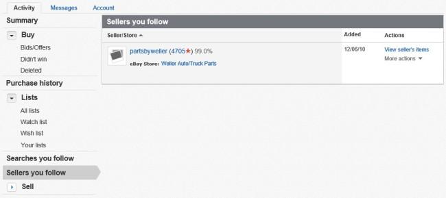 Ebay Un-follow Seller Page