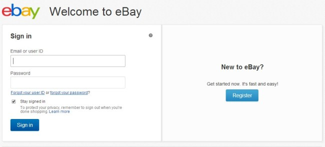 Ebay Registration Page
